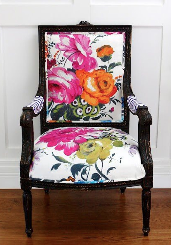 Floral Fabric Upholstery Chair
