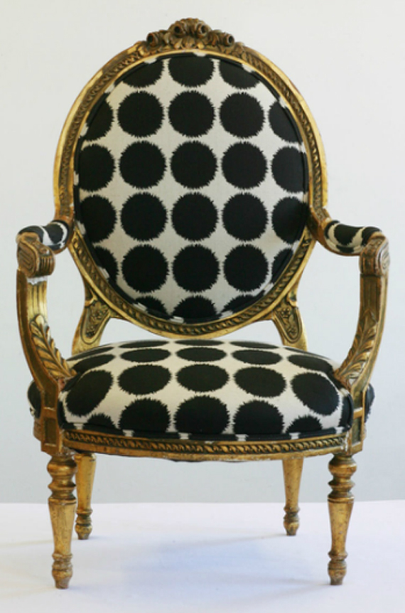 Big Geometric Textile Upholstery Fabric Chair