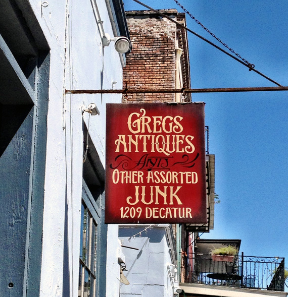 Greg's Aniques Sign